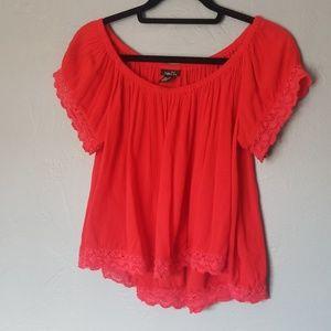 Rue21 boho gauzy off shoulder blouse cropped